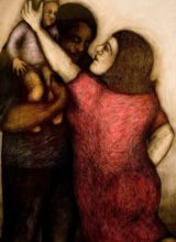 We are family  Pastel& conte'crayon  150 x 120cm